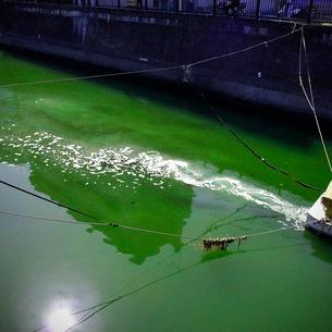 川に流れる泡の写真素材 [FYI03834419]