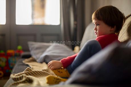 ソファーに座ってテレビを見る赤いセーターを着た幼児の写真素材 [FYI03834544]