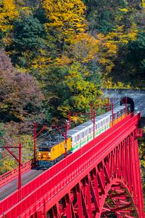 黒部峡谷鉄道 新山彦橋とトロッコ電車の写真素材 [FYI03835979]