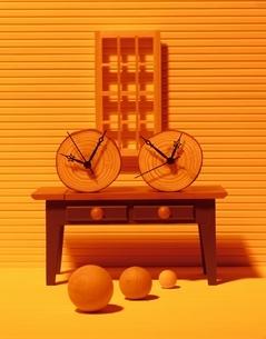 複数の球体とテーブル(オレンジ色)の写真素材 [FYI03836697]