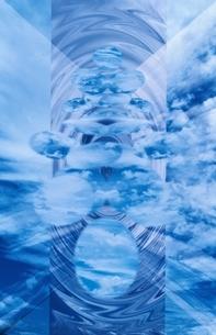 楕円と雲(青)のイラスト素材 [FYI03836759]