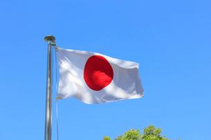 風になびく日章旗と青空の写真素材 [FYI03837263]