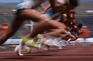 陸上競技のスタートする選手たちの写真素材 [FYI03837338]