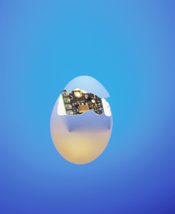 発光する玉子の中のパソコン基盤の写真素材 [FYI03837881]