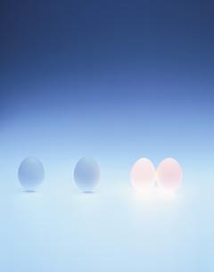 青色バックで発光する玉子の写真素材 [FYI03838006]
