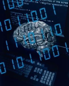 脳とパソコンイメージ    CGの写真素材 [FYI03838714]