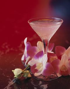 1杯のカクテルと花の写真素材 [FYI03839143]