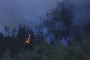 山火事の煙と炎 竹原市 広島県の写真素材 [FYI03839380]