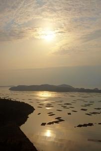 カキ筏と朝日の写真素材 [FYI03839695]