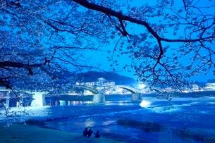 夕方の桜の錦帯橋の写真素材 [FYI03839705]