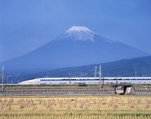 富士山と500系新幹線 富士市 静岡県の写真素材 [FYI03840426]