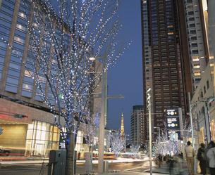 けやき坂通りのイルミネーションと東京タワー 港区 東京都の写真素材 [FYI03840586]