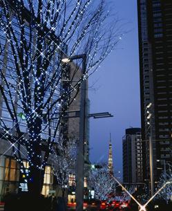 けやき坂通りのイルミネーションと東京タワー 港区 東京都の写真素材 [FYI03840589]
