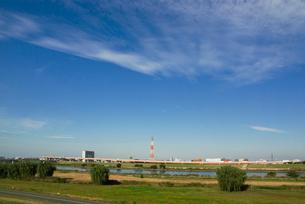荒川河川敷と青空の写真素材 [FYI03840797]