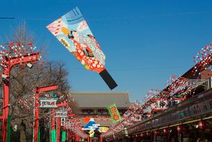 浅草寺仲見世の正月風景 羽子板の飾りの写真素材 [FYI03840863]