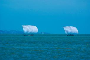霞ヶ浦の帆引き船の写真素材 [FYI03840963]