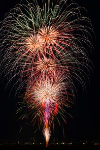 とりで利根川花火大会のスターマインの写真素材 [FYI03841231]