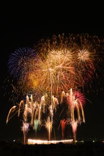 とりで利根川花火大会のワイドスターマインとナイアガラの滝の写真素材 [FYI03841233]