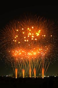 とりで利根川花火大会の和火のワイドスターマインの写真素材 [FYI03841235]