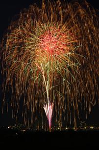 とりで利根川花火大会のスターマインの写真素材 [FYI03841236]
