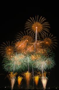 とりで利根川花火大会のワイドスターマインの写真素材 [FYI03841239]
