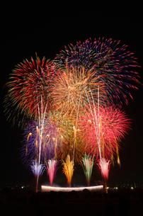 とりで利根川花火大会のワイドスターマインとナイアガラの滝の写真素材 [FYI03841241]