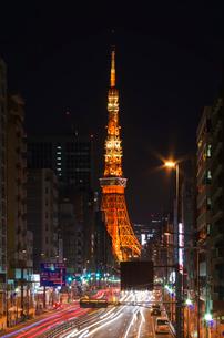 東京タワー(ランドマーク冬バージョン)夜景の写真素材 [FYI03841437]