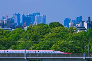 新宿・池袋をバックに東京を走る秋田新幹線E6系スーパーこまちの写真素材 [FYI03841470]