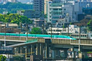 東京を走る東北新幹線E5系はやぶさの写真素材 [FYI03841473]