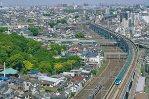 東京を走る東北新幹線E5系はやぶさの写真素材 [FYI03841487]