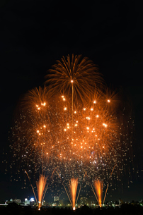 とりで利根川大花火の和火花火で飛天の舞の写真素材 [FYI03841750]