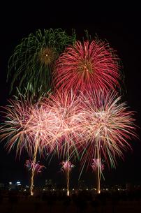 とりで利根川大花火の夜空deアミーゴの写真素材 [FYI03841751]