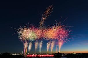 葛飾納涼花火大会で富士山暮色と東京スカイツリーの写真素材 [FYI03842023]