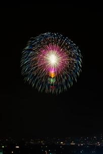 長岡まつり大花火大会 匠の花火 昇曲導付三重芯変化菊の写真素材 [FYI03842118]