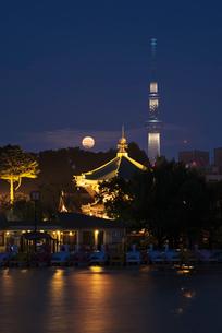 上野不忍池弁天堂とスーパームーンの写真素材 [FYI03842169]