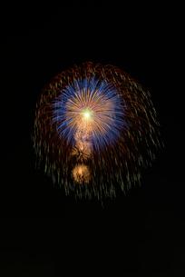 いばらきまつり花火で10号玉の昇小花付五重芯冠菊先緑点滅の写真素材 [FYI03842189]