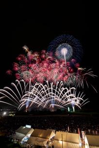常総きぬ川花火大会音楽と花火のコラボレーション「マエストロ」の写真素材 [FYI03842530]