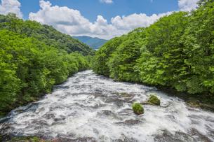 奥日光の竜頭の滝と中禅寺湖の写真素材 [FYI03844325]