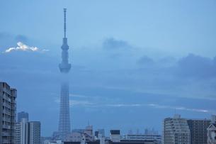 朝雲の中の東京スカイツリーと街の写真素材 [FYI03844342]