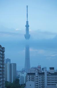 朝雲の中の東京スカイツリー先塔の写真素材 [FYI03844343]