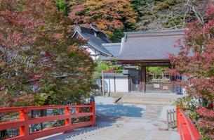 室生寺の本坊と室生川に架かる赤橋の写真素材 [FYI03844666]