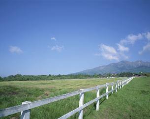 白い柵と草原   清里 山梨県の写真素材 [FYI03846158]