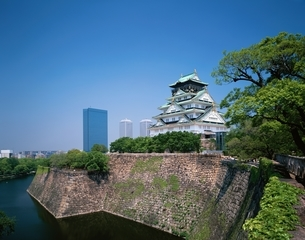 大阪城とOBPの写真素材 [FYI03846313]