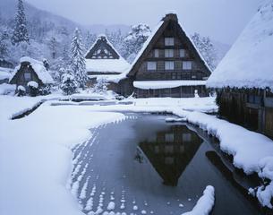 雪の白川郷・合掌集落  岐阜県の写真素材 [FYI03847432]