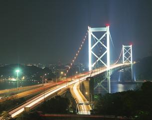 関門橋夜景    門司 福岡県の写真素材 [FYI03848347]