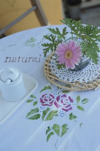 ガーベラの花とバラ模様のテーブルクロスの写真素材 [FYI03850860]
