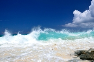 渚に寄せる波の写真素材 [FYI03853615]