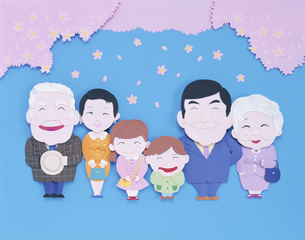 入学式の3世代の家族とサクラの花 クラフトの写真素材 [FYI03854060]