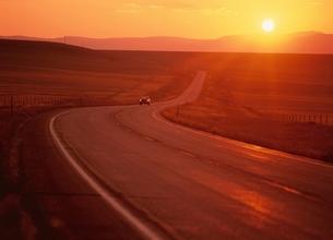 夕日に染まる草原の道   アメリカの写真素材 [FYI03855214]