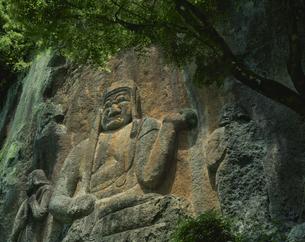 新緑の晋光寺 磨崖仏  朝地町 大分県の写真素材 [FYI03855511]